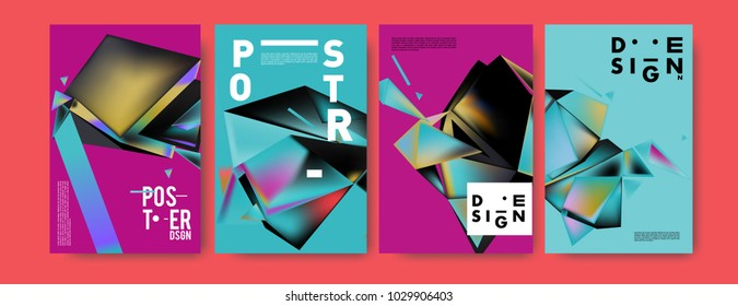 Abstract colorful geometric background for poster design. Blue, yellow, red, orange, pink and green. Vector banner poster template in Eps10.