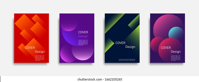 Abstract colorful geometric background set, graphic banner cover and advertising design layout template. Eps10 vector.