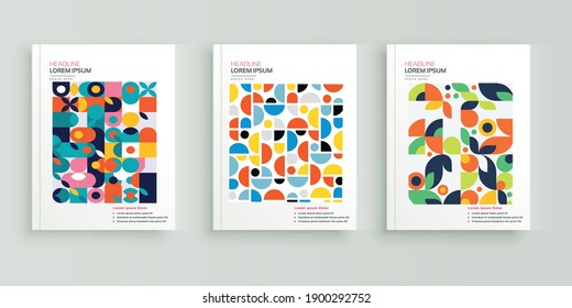 Abstract, colorful Geometric book cover flyer designs set.