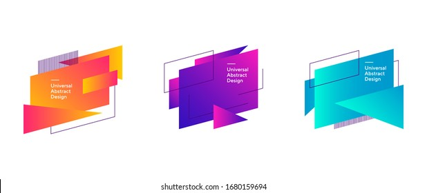 Abstract colorful geometric forms composition. Regular forms, dynamical shapes, outlines, text sample. Trendy futuristic design for cover, print, wallpapers