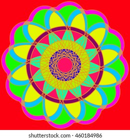 Abstract colorful geometric fractal mandala on red background.