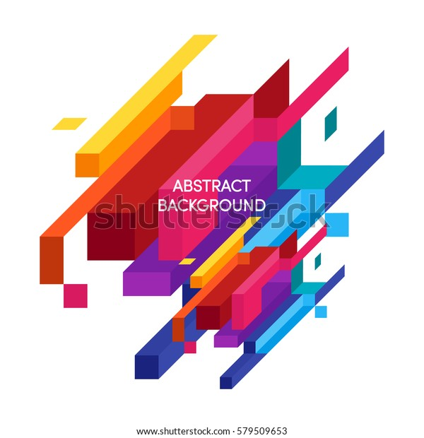 Abstract Colorful Geometric Isometric Background Can Stock