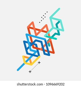 Abstract colorful geometric isometric line art background, vector illustration