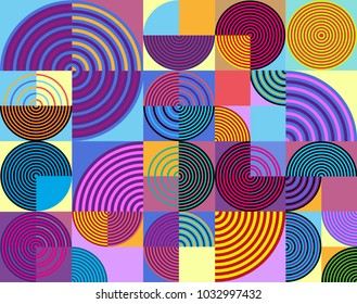 Abstract colorful geometric pattern retro style. Circle,line and square vector background.