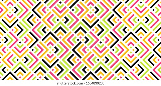 Abstract colorful geometric seamless pattern with lines. Vector background. Modern design template for web, presentation, branding package, fabric print, wallpaper