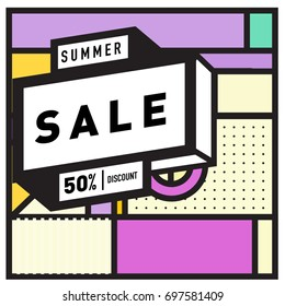 Abstract Colorful Geometric Summer Sale background design template. Trendy and Colorful Pattern design for fabric background and wallpaper. Summer Promotion and discount poster design.