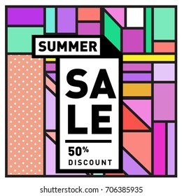 Abstract Colorful Geometric Summer Sale background design template. Trendy and Colorful Pattern design for fabric background and wallpaper. Summer Promotion and discount poster design