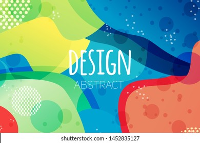 Abstract colorful geometric vector background. Fluid gradient shapes with halftone and bokeh effects. Bright colors. Kids children nursery design