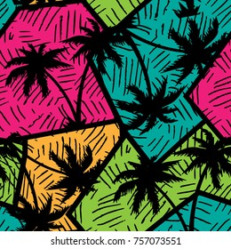 Abstract colorful geometry seamless pattern with palm trees.