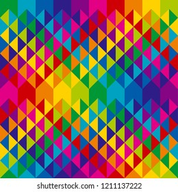 Abstract colorful geometry triangles repeatable motif. Rainbow colors simple cool geometric seamless pattern.