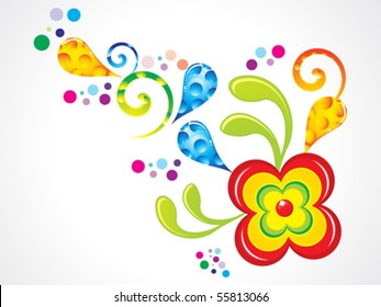 abstract colorful glossy floral vector illustration