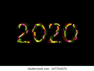 Abstract colorful glowing neon 2020 New Year background. Laser glitch effect Christmas graphic design. Vector illustration