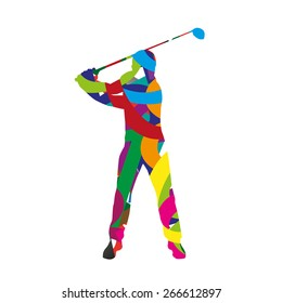 Abstract colorful golf player