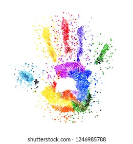Abstract Colorful Handprint of Dots. Rainbow Colors Dots Shape of a Hand and Fingers on White Background