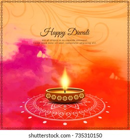 Abstract colorful Happy Diwali watercolor background