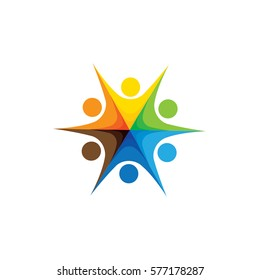 Abstract colorful happy people vector logo icons as ring. This can also represent concept of children playing together or team building or group activity, unity & diversity