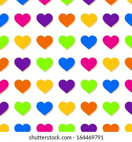 Abstract colorful hearts seamless pattern.