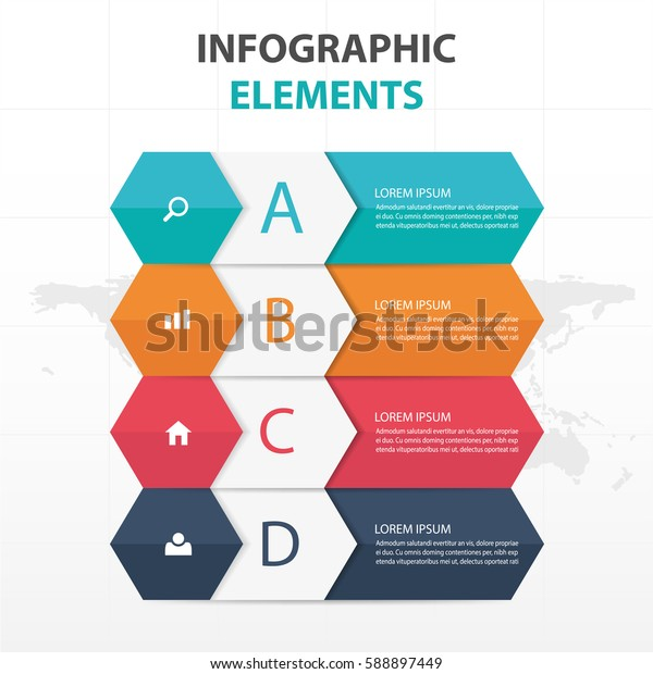 Abstract colorful hexagon and label business Infographics elements, presentation template flat design vector illustration for web design marketing advertising