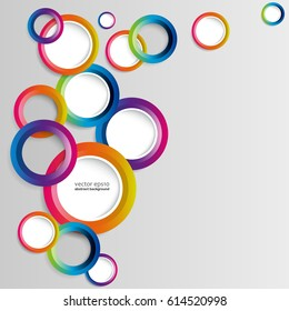 Abstract colorful hoop circles frame on a white background.