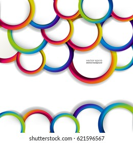 Abstract colorful hoop circles frame on a light background.