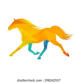 Abstract colorful horse on white background, vector illustration