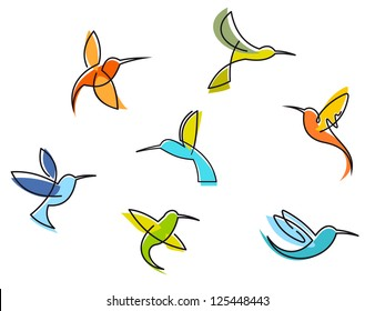 Abstract colorful hummingbirds set isolated on white background, such as idea of logo. Jpeg version also available in gallery