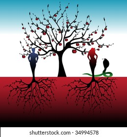 Abstract colorful illustration with apple tree, snake and a man with a woman with roots instead of feet. Adam and Eve concept