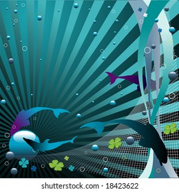 Abstract colorful illustration with blue bubbles, small circles, fish silhouettes and net trap