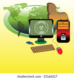 Abstract colorful illustration with computer, monitor, mouse, world map in the background and a brown horse shape representing a Trojan horse which can harm the computer