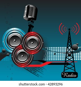 Abstract colorful illustration with three loudspeakers and microphone. Radio theme