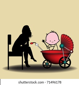Abstract colorful illustration with a young babysitter taking care of a small baby who plays in a baby carriage. Babysitting concept