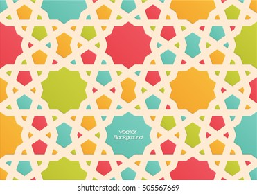 Abstract colorful Islamic pattern, geometric patern