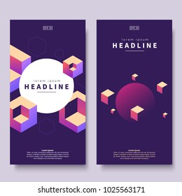 Abstract colorful isometric banners. Geometric shapes on dark background. Vertical minimalistic banner with isometric cubes and place for text. Use for party flyer, conference invite, ad, web page.