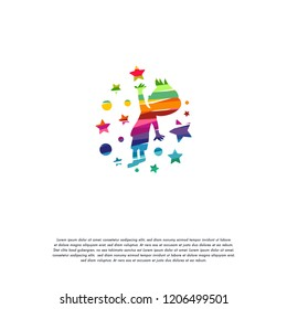 Abstract Colorful Kids Reaching star logo vector, Education logo designs template