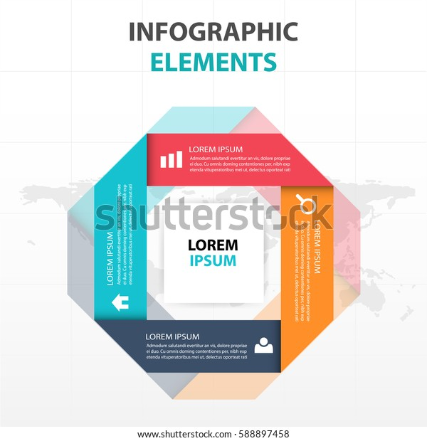Abstract colorful label square business Infographics elements, presentation template flat design vector illustration for web design marketing advertising