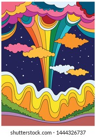 Abstract Colorful Landscape, Vintage Psychedelic Art, 1960s, 1970s Hippie Hand Drawn Style Poster, Cover, Background