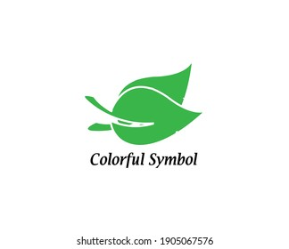 Abstract colorful leaf symbol design