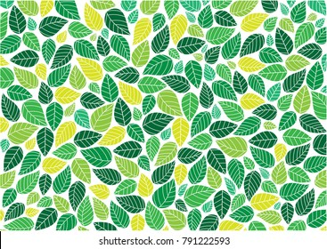 Abstract colorful Leaves background pattern - Illustration , Textile, Plant, Leaf, Wallpaper,white background,Painted Image, Springtime,  Season, Leaf,wallpaper