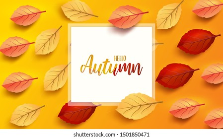 Abstract colorful leaves decorated  background for  Hello Autumn advertising header or banner design.  Vector Illustration.