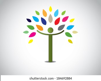 abstract colorful leaves tree happy boy or girl with open hands. joy happiness celebration concept design symbol with different colored leaves and young human person and white background
