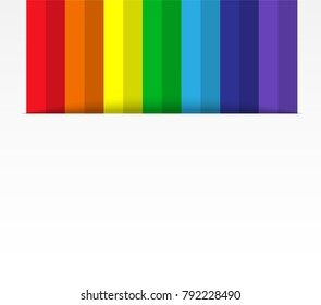 abstract Colorful line paper art ,Rainbow Emerging from paper , white background design with shadows ,Vector