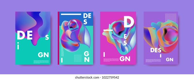 Abstract colorful liquid and curvy colors background for poster design. Blue, yellow, red, orange, pink and green. Vector banner poster template in Eps10.