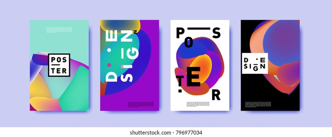 Abstract colorful liquid and fluid pattern background for poster design. Blue, yellow, red, orange, pink and green. Vector banner poster template in Eps10.
