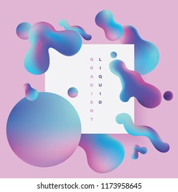 Abstract colorful liquid gradient shapes in fluid dynamic composition designed in pink and blue color combination