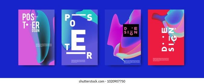 Abstract colorful liquid and holographic colors background for poster design. Blue, yellow, red, orange, pink and green. Vector banner poster template in Eps10.