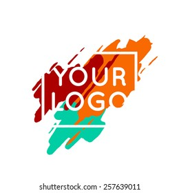 Abstract colorful logo template concept. Vector paint splash background.