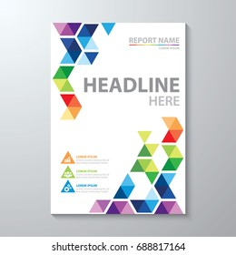 Abstract colorful low polygon background. Cover design template layout in A4 size for annual report, brochure, flyer, Vector illustration.