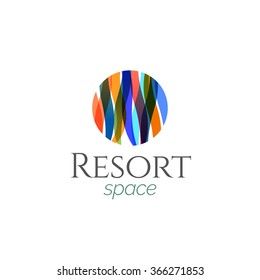 Abstract Colorful  Modern Resort Spa Logo icon, Isolated in White Background