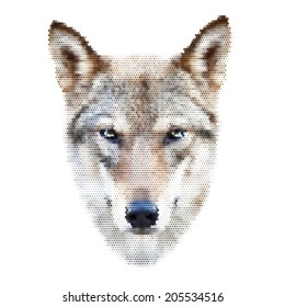 Abstract colorful mosaic portrait of a wolf. Menacing expression, The mask, isolated on white background. Vector illustration