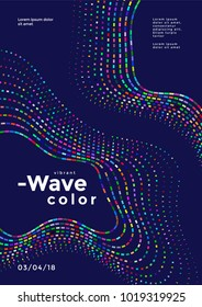 Abstract colorful mosaic wave. Cover design vector template